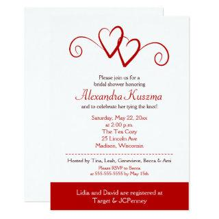 Two Hearts Red Swirl Bridal Shower Invitations