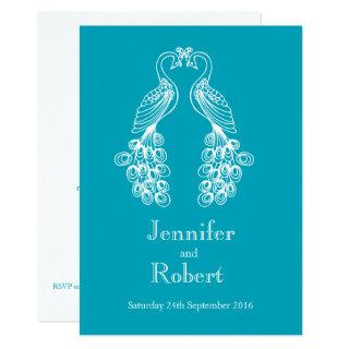Two Peafowl teal white wedding Invitations