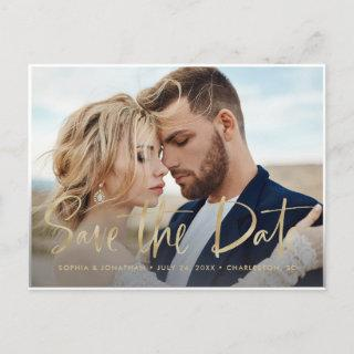 Two Photo | Faux Gold Modern Script Save the Date Announcement Postcard