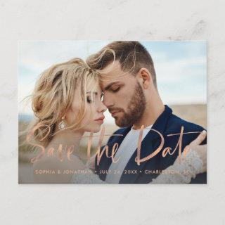 Two Photo | Faux Rose Gold Script Save the Date Announcement Postcard