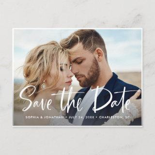 Two Photo | Modern Script Save the Date Announcement Postcard