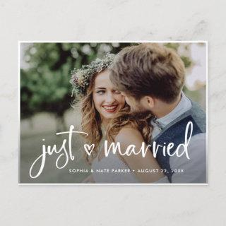 Two Photo | White Heart and Script Just Married Announcement Postcard