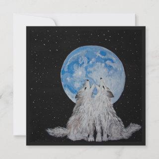 Two Wolves Howling at the Moon Holiday Card