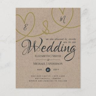 Tying Knot TYPOGRAHY Wedding Invites - Kraft Look