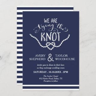Tying the Knot Calligraphy Wedding Invitations