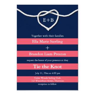 Tying the Knot Coral & Navy Wedding Invitations