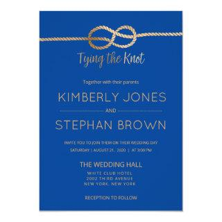Tying the Knot Quote Mode Royal Blue Gold Wedding Invitations