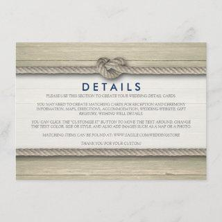 Tying The Knot Rustic Beach Wedding Details Enclosure Card