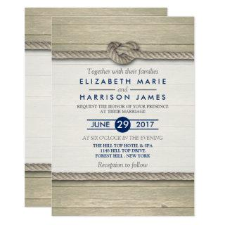 Tying The Knot Rustic Beach Wedding Invitation