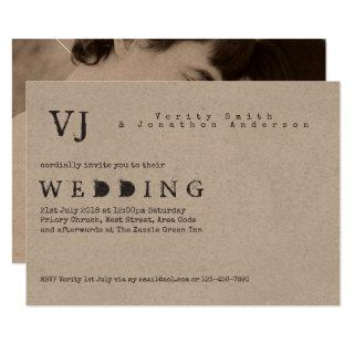 Typewriter Font Wedding Vintage Rustic PHOTO Kraft Invitation