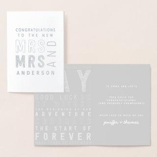 typography congratulations wedding card. foil card