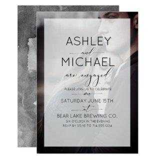 Typography Photo Engagement Party Invitations