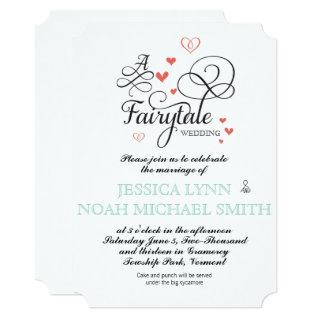 Typography Quote Mint and Coral FairyTale Wedding Invitation