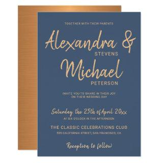 Typography script navy copper metallic wedding Invitations