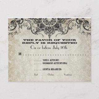 Typography Style Engravers Fonts Swirl Flourishes RSVP Card