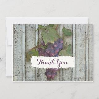 Typography Thank You Notes Rustic Wine Vineyard