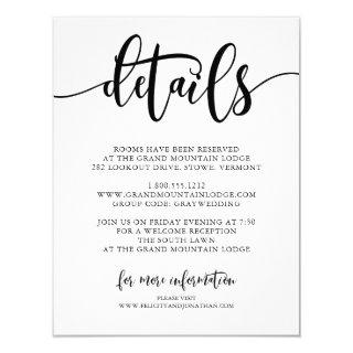 Typography wedding details | Scooth black Invitations