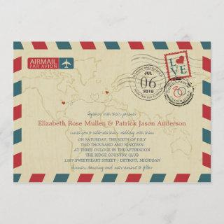 UK / Michigan USA Airmail | Wedding Invitation
