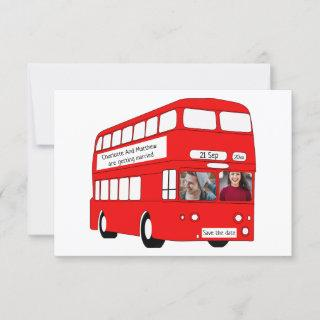 UK Red London Bus British Save The Date Wedding Announcement