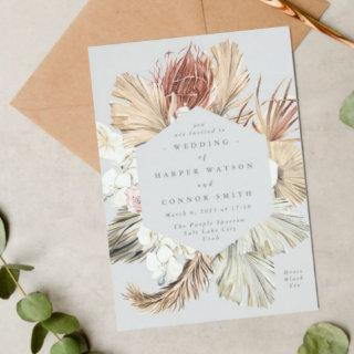 Ultimate Gray Floral Pampas Grass Tropical Jungle Invitation
