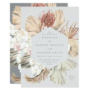 Ultimate Gray Floral Pampas Grass Tropical Jungle Invitations