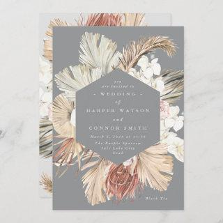 Ultimate Gray Pampas Grass Floral Tropical Jungle Invitations