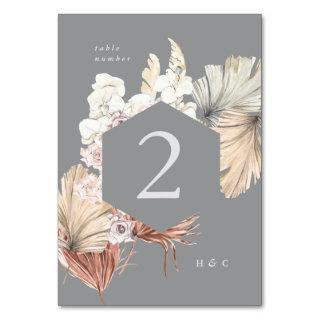 Ultimate Gray Pampas Grass Tropical Jungle Floral Table Number