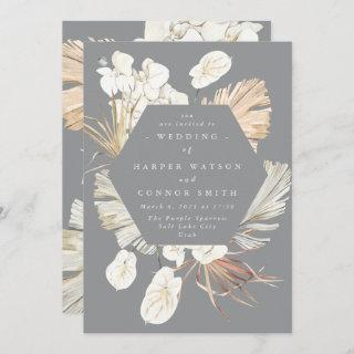 Ultimate Pampas Grass Floral Tropical Gray Wedding Invitation
