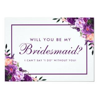 Ultra Violet Purple Floral Bridesmaid PS Invitations