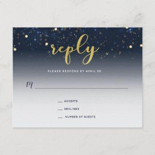 Under the Stars Navy and Gold Wedding Reply Card