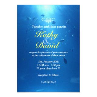 Underwater Blue Sea Themed Beautiful Wedding Invitations