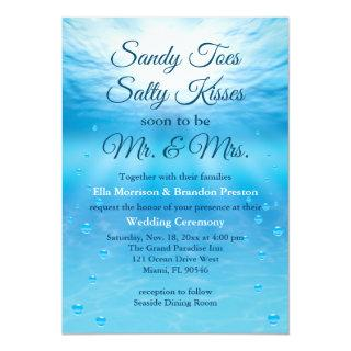 Underwater Sandy Toes Salty Kisses Beach Wedding Invitation