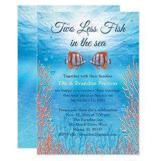Underwater Two Less Fish in the Sea Post Wedding Invitations