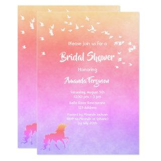 Unicorn and rainbow colored Bridal Shower Invitations