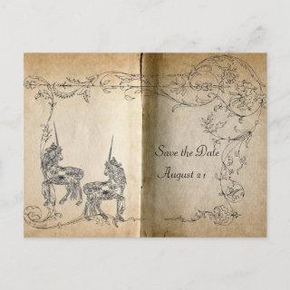 Unicorn Storybook Save the Date Announcement Postcard