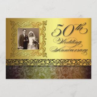 unique golden 50 anniversary photo invitations