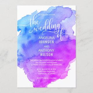Unique Watercolor Blue Purple Wedding Invitations