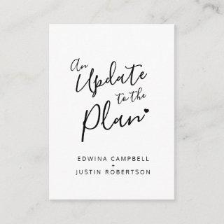 Update to plan black white heart wedding cancelled enclosure card