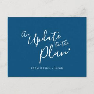 Update to plan blue white heart wedding cancelled announcement postcard