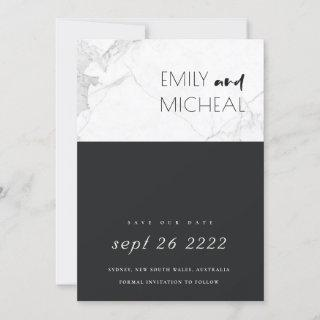 URBAN BLACK AND WHITE MARBLE SAVE THE DATE CARD