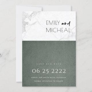URBAN CHIC STONE GREY MARBLE SAVE THE DATE CARD