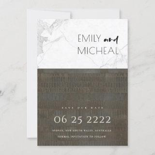 URBAN FAUX SILVER GREY MARBLE SAVE THE DATE CARD