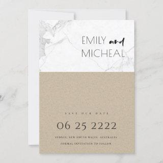 URBAN RUSTIC KRAFT MARBLE SAVE THE DATE CARD