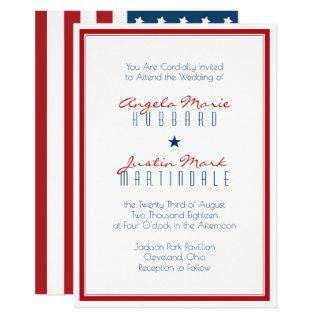 USA Patriotic Flag Wedding 2 Invitations
