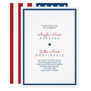 USA Patriotic Flag Wedding 3 Invitations