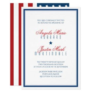 USA Patriotic Flag Wedding Invitations