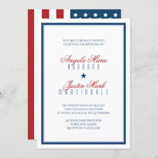 USA Patriotic Flag Wedding Invitation