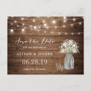 (USPS) Baby's Breath String Lights Save the Date Announcement Postcard