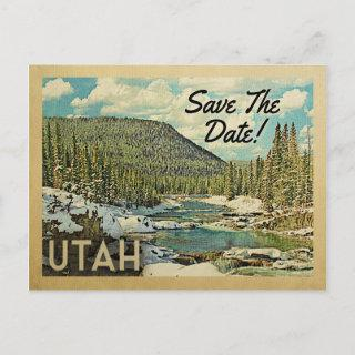 Utah Save The Date Mountains River Snow Announcement Postcard