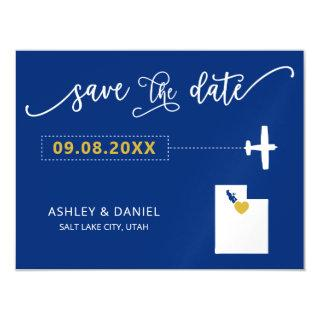 Utah Wedding Save the Date Card, Map Magnetic Invitations